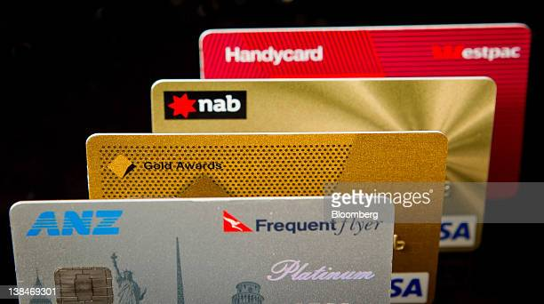Credit and debit cards issued by Australian banks Australia New Zealand Banking Group Ltd from bottom the Commonwealth Bank of Australia National...
