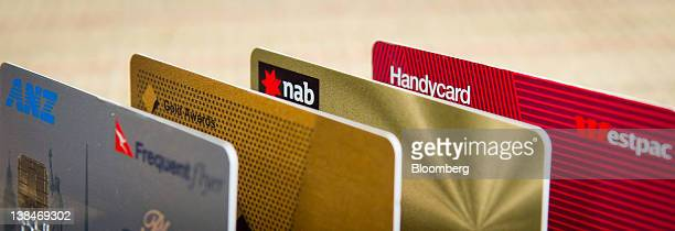 Credit and debit cards issued by Australian banks Australia New Zealand Banking Group Ltd from left the Commonwealth Bank of Australia National...