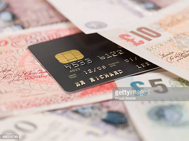 credit card and banknotes - british pound sterling note stock pictures, royalty-free photos & images