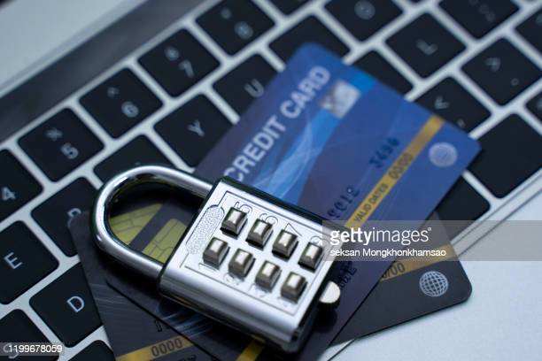 credit card data security concept / data encryption on credit card - security_(finance) stock pictures, royalty-free photos & images