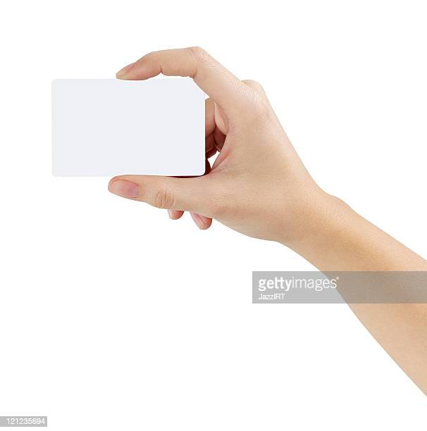credit card female hand holding - greeting card bildbanksfoton och bilder