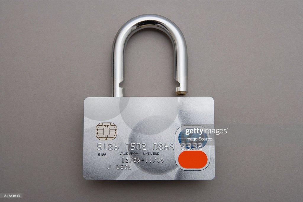 Credit card lock : Stock Photo