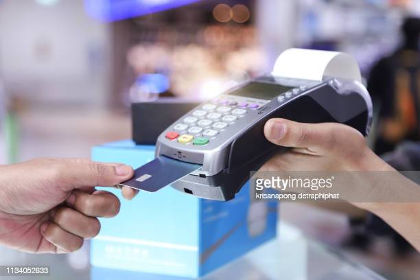 credit card payment, buy and sell products & service - credit card reader stock pictures, royalty-free photos & images