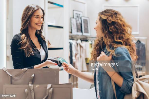 Credit card payment in the fashion store