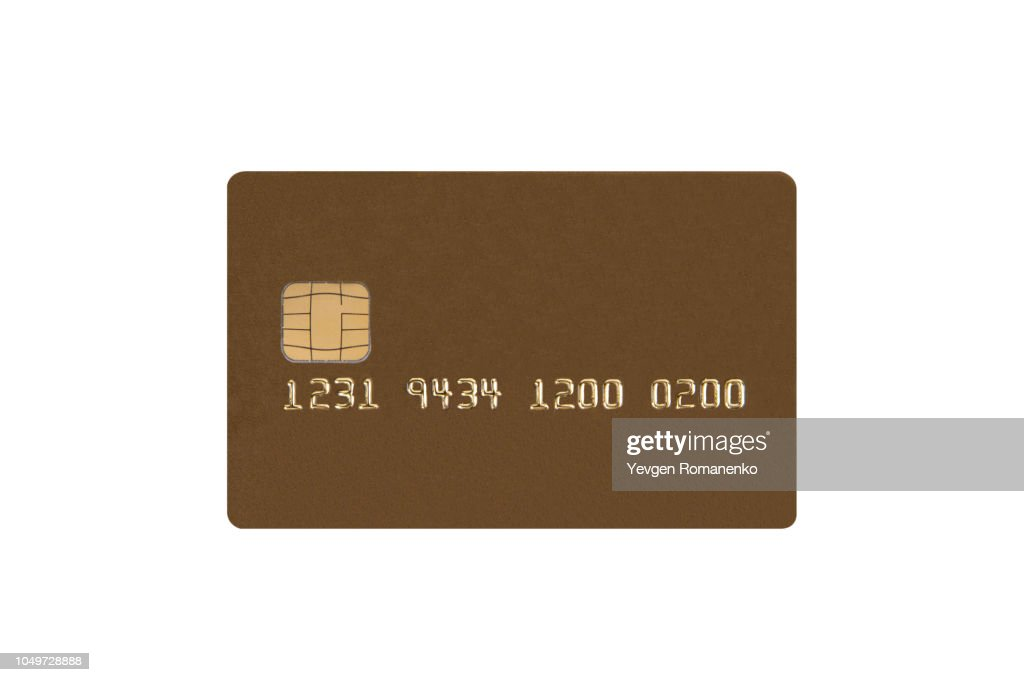 Credit card with chip isolated on white background : Stock Photo