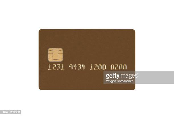 credit card with chip isolated on white background - credit card stock pictures, royalty-free photos & images