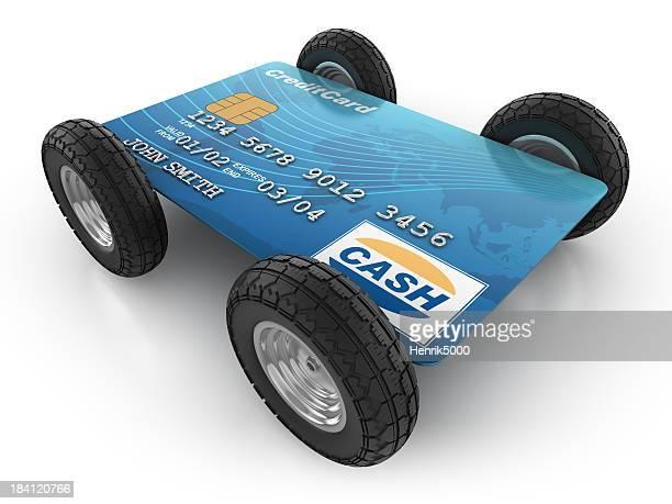 Carte de crédit avec voiture-isolé/Tracé de détourage