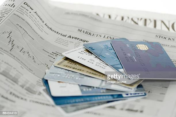 Credit cards and newspaper
