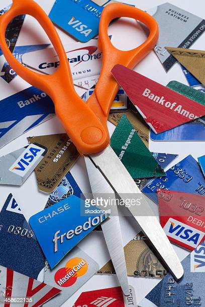 Credit Cards Cut Up with Scissors