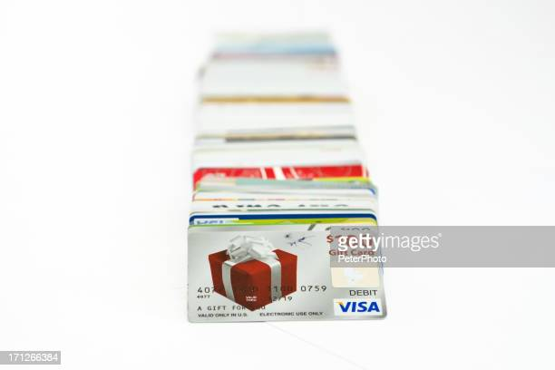 credit cards on white - gift card stock photos and pictures
