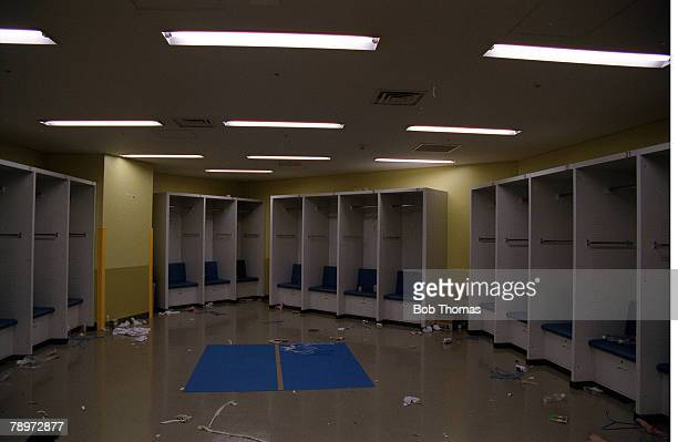 POPPERFOTO/JOHN McDERMOTT Football 2002 FIFA World Cup Final Yokohama Japan 30th June 2002 Brazil 2 v Germany 0 The Brazilian dressing room in the...