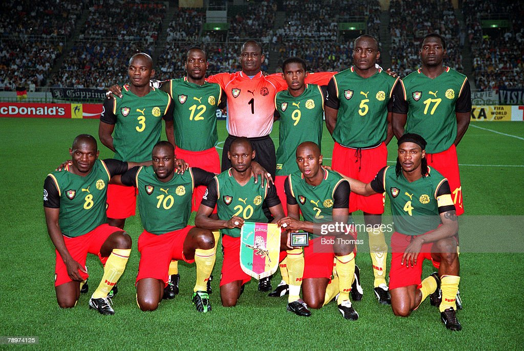 Credit: POPPERFOTO/JOHN MCDERMOTT. Football. 2002 FIFA World Cup Finals. Group E. Shizuoka, Japan. 11th June 2002. Germany 2 v Cameroon 0. The Cameroon team pose together for a group photograph prior to the match. Back Row L-R: Pierre Wome, Lauren Etame M : News Photo