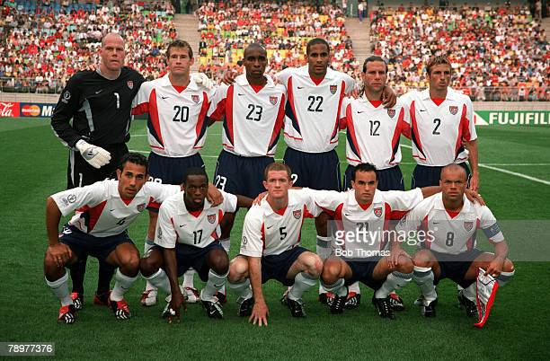 POPPERFOTO/JOHN MCDERMOTT Football 2002 FIFA World Cup Finals Group D Suwon South Korea 5th June 2002 USA 3 v Portugal 2 The USA team pose together...