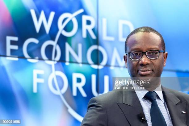 Credit Suisse CEO Tidjane Thiam attends a session on the opening day of the World Economic Forum 2018 annual meeting on January 23 2018 in Davos...