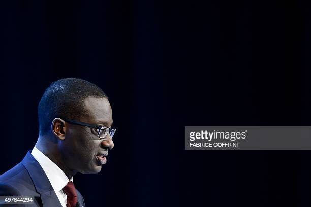 Credit Suisse CEO Tidjane Thiam delivers a speech during an extraordinary shareholders meeting of the Swiss banking group on November 19 2015 in Bern...