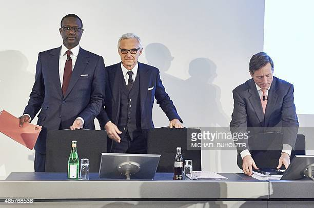 Credit Suisse designated CEO Tidjane Thiam Credit Suisse Chairman Urs Rohner and Credit Suisse CEO Brady W Dougan arrive for a press conference on...