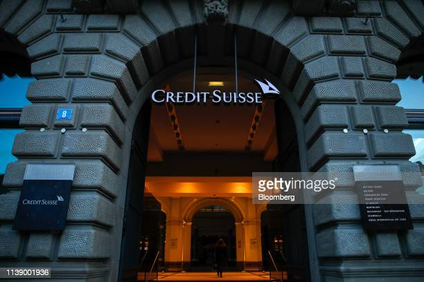A Credit Suisse logo hangs in the entrance to Credit Suisse Group AG's headquarters in Zurich Switzerland on Wednesday April 24 2019 Credit Suisse's...