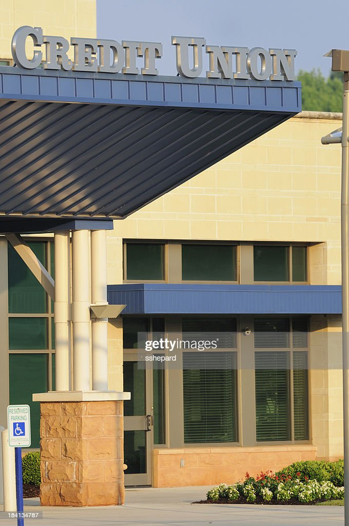 Credit union with sign : Stock Photo