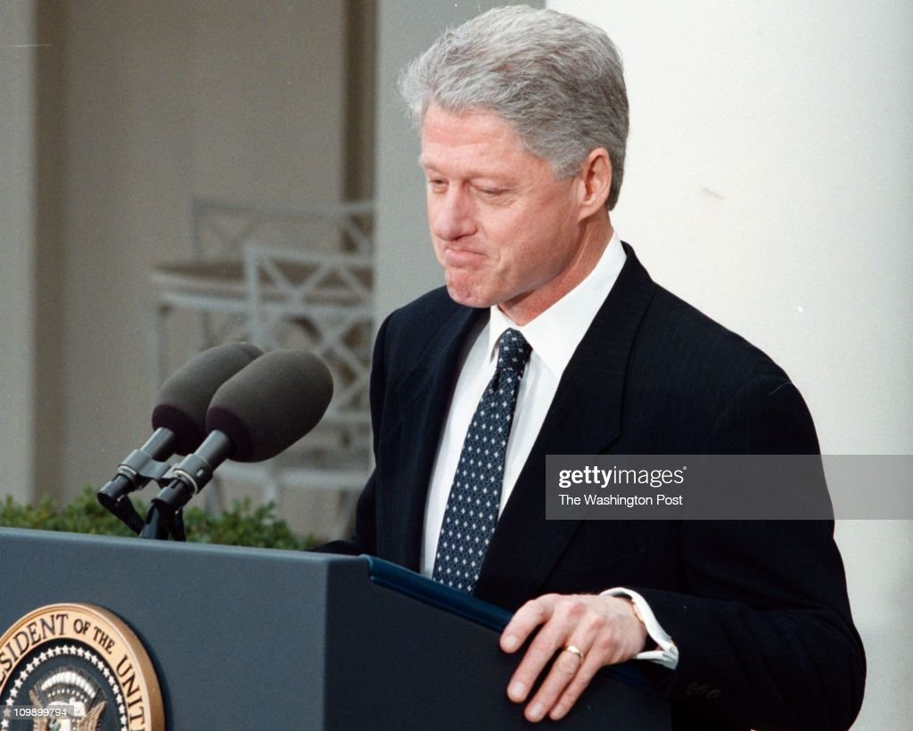 t Juana Arias TWP - White House President Bill Clinton speaks to the press at the White House after the Senate aquicted him in the Senate impeachment trial .