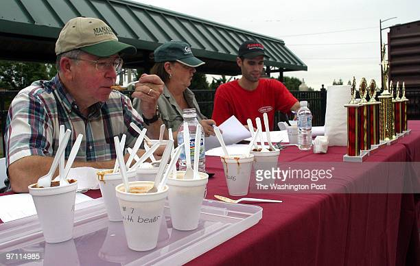 Tetona Dunlap/TWP HARRIS HARRIS PAVILION MANASSAS VA Chili cookoff judges Roger Snyder left Susan Svihlik and Justin McMillan sample several...