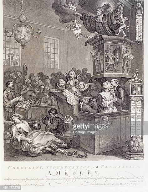 'Credulity Superstition and Fanaticism A Medley' 18th century The scene depicts a Methodist meeting at Whitefield's Tabernacle on Tottenham Court...