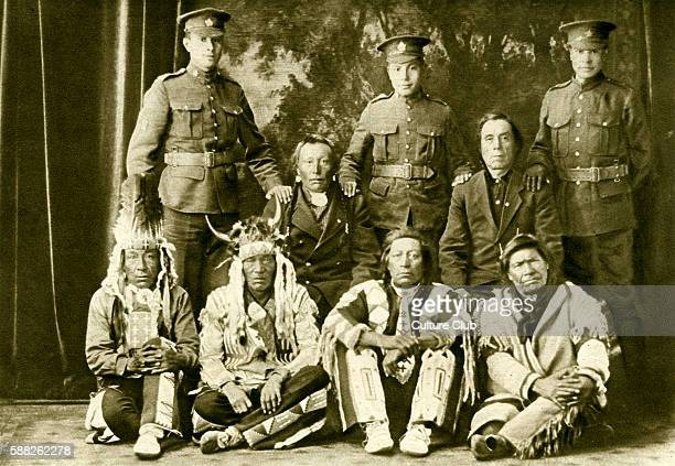 Cree First Nations Canadians during World War 1 Three generations with grandsons in army uniform 1916 Saskatchewan Canada