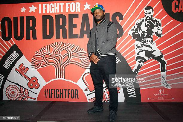 'Creed' director Ryan Coogler poses in front of a moviethemed mural at The Guardian Project on November 17 2015 in Oakland California