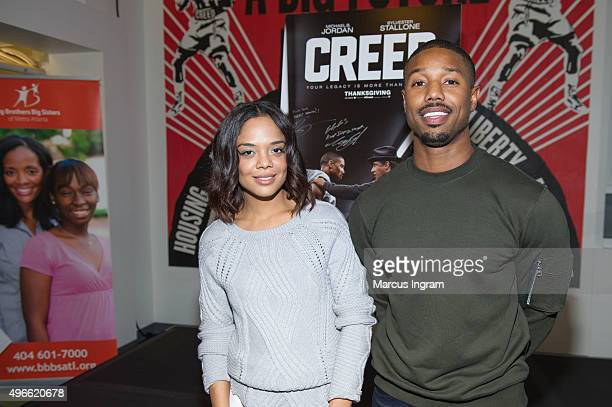 'Creed' stars Michael B Jordan and Tessa Thompson attend the Big Brothers Big Sisters of Metro Atlanta mural unveiling on November 10 2015 in Atlanta...