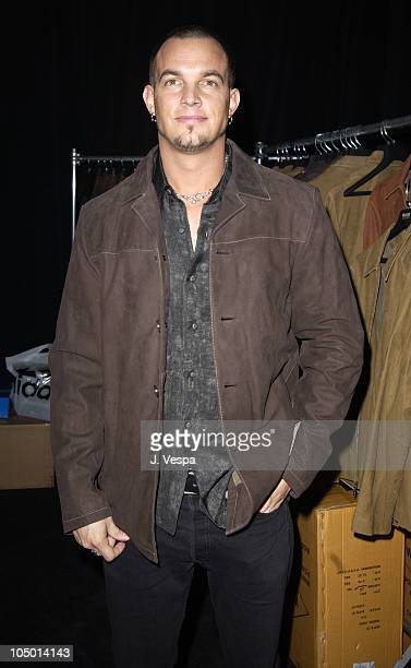 Creed wearing a Wilsons Leather jacket during 2002 Billboard Music Awards Backstage Creations Talent Retreat Show Day at MGM Grand Hotel in Las Vegas...