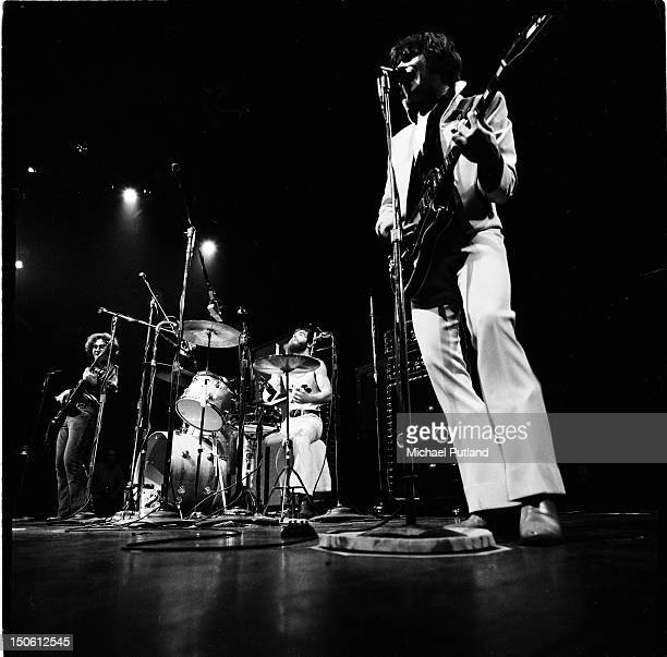 Creedence Clearwater Revival perform on stage at the Royal Albert Hall London 27th September 1971 Left to right Stu Cook Doug Clifford and John...