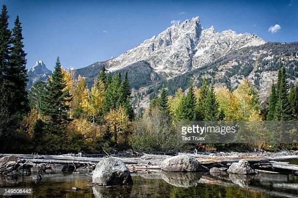 Creek, boulders and Teton