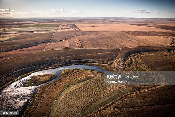 A creek weaves through the landscape near where the proposed Keystone XL pipeline would pass on October 13 2014 near Presho South Dakota