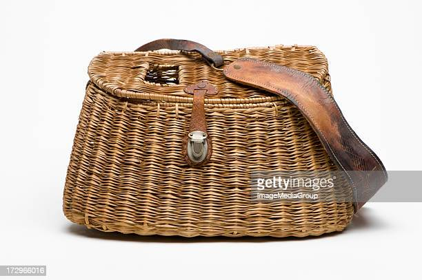 creel with shoulder strap - fishing tackle stock pictures, royalty-free photos & images