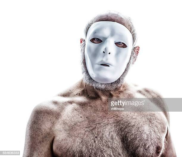 creepy blank mask senior man - hairy man chest stock pictures, royalty-free photos & images
