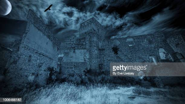 creepy castle - castle stock pictures, royalty-free photos & images