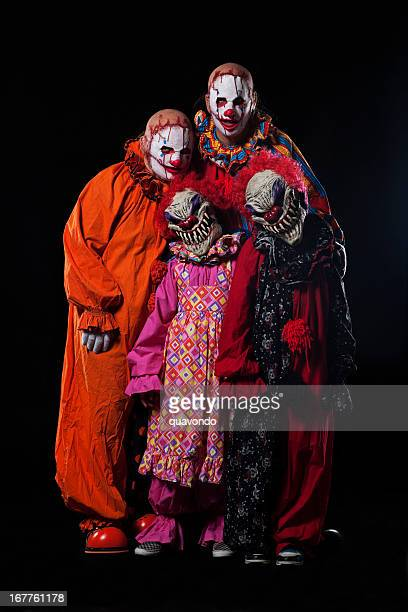 Creepy Halloween Clown Family Portrait on Black