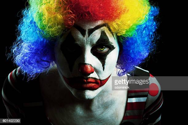 creepy halloween clown - scary clown makeup stock photos and pictures