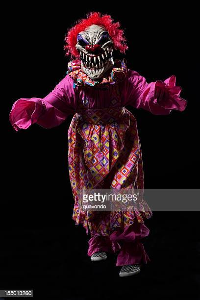 Creepy Halloween Female Clown Costume Portrait on Black