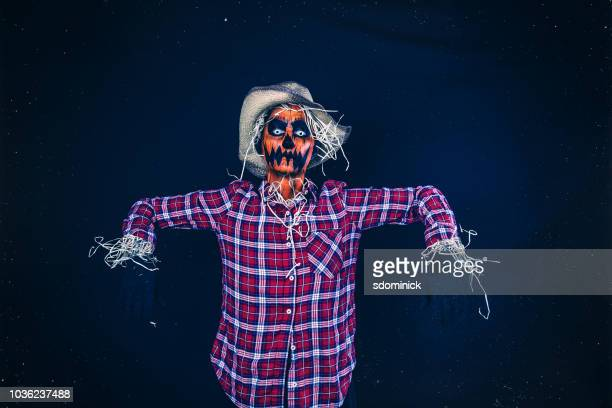 creepy halloween jack o' lantern scarecrow - scarecrow agricultural equipment stock photos and pictures