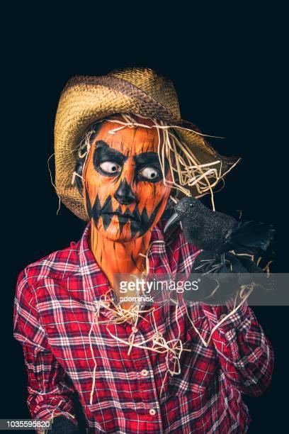 creepy jack o'lantern scarecrow with crow - scarecrow faces stock photos and pictures