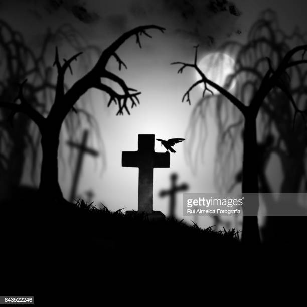 creepy old cemetery at night - cemetery stock pictures, royalty-free photos & images