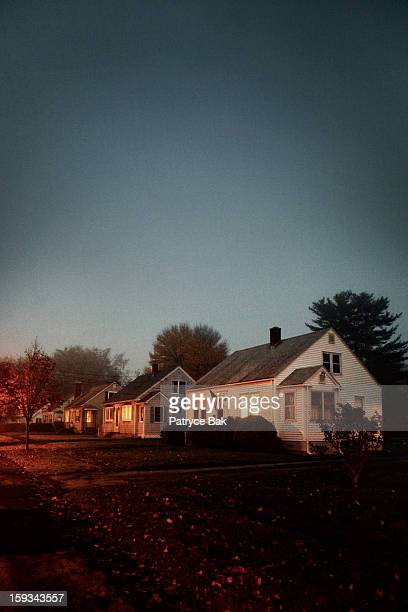 creepy suburban street - new england usa stock pictures, royalty-free photos & images