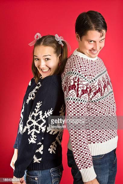 Creepy sweater couple