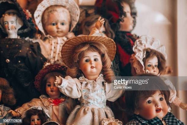 creepy vintage dolls - doll stock pictures, royalty-free photos & images