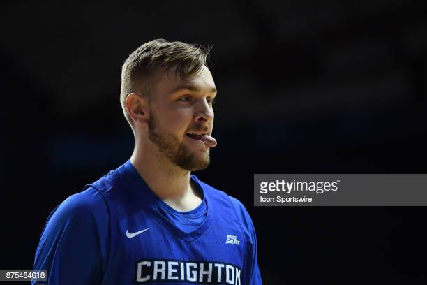 Creighton Bluejays forward Toby Hegner sticks his tongue out during a game between the Creighton Bluejays and the Northwestern Wildcats on November...