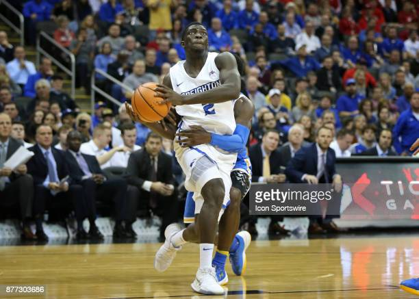 Creighton Bluejays guard Khyri Thomas is intentionally fouled by UCLA Bruins guard Jaylen Hands going to the hoop in the second half of the semifinal...