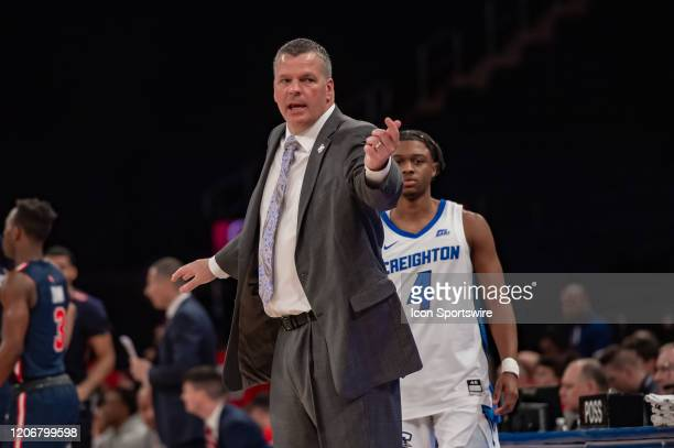 Creighton Bluejays head coach Greg McDermott reacts during the first half of the Big East tournament quarterfinal round game between the St Johns Red...