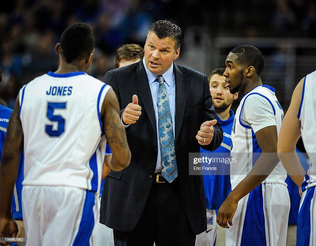 Creighton Bluejays head coach Greg McDermott talks to his team during a time out during their game at against the Presbyterian Blue Hose CenturyLink Center on November 18, 2012 in Omaha, Nebraska.