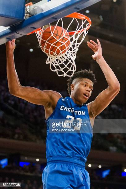 Creighton Center Justin Patton sends the ball through the net during the championship matchup in the BigEast Conference men's basketball tournament...