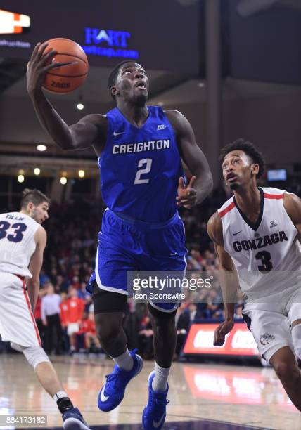 Creighton guard Khyri Thomas puts up an offbalance shot during the game between the Creighton Bluejays and the Gonzaga Bulldogs on December 1 at the...